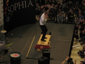 That's my partner getting stomped on by the Science Guy!
